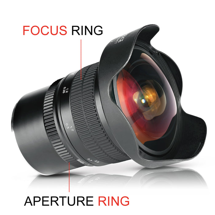 Meike 8mm f/3.5 Ultra Wide Angle Manual Focus Rectangle Fisheye Lens for MFT Mount-Fast Delivery