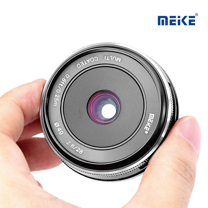 Meike 28mm f/2.8 Fixed Manual Focus Lens for Canon EF-M APS-C Mirrorless Cameras EOS-M3/EOS-M2/EOS-M10/EOS-M with Voking Lens Cleaning Cloth-Fast Delivery