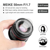 Meike MK-50mm F1.7 Full Frame Manual Focus Prime Lens for Canon RF Mount Cameras EOS-R EOS-RP-Fast Delivery