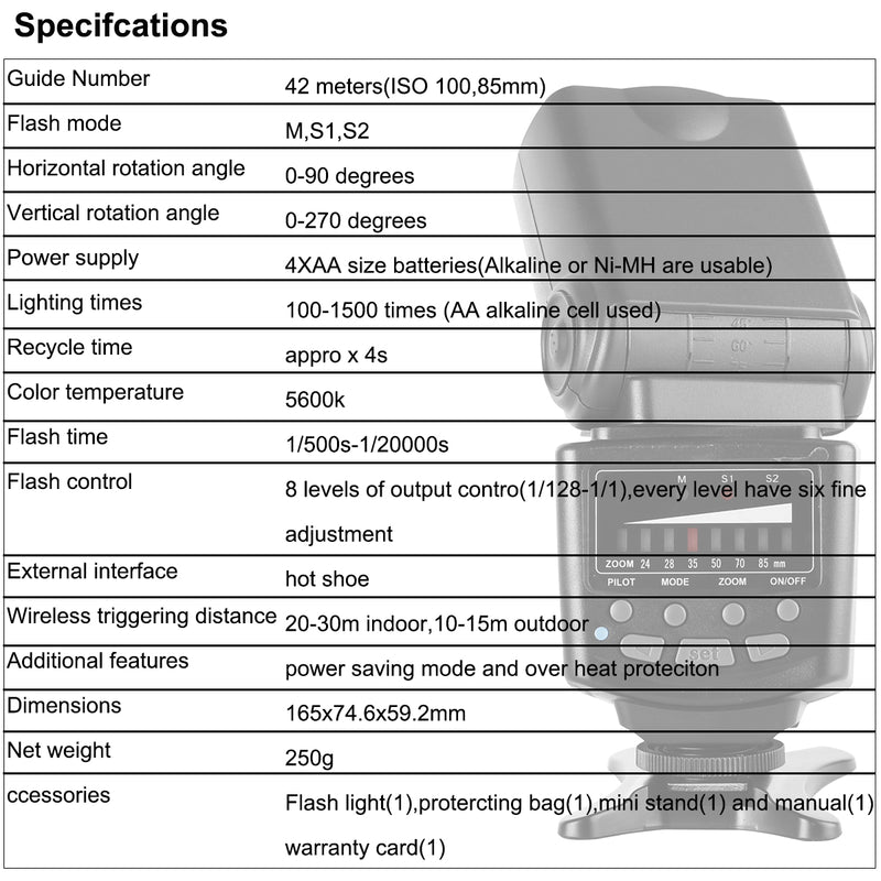 Voking VK410 Manual Flash Speedlite with LCD Display for Nikon Canon Panasonic Olympus and Other DSLR Cameras