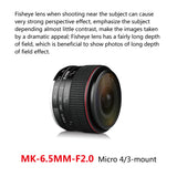 Meike 6.5mm f/2.0 Ultra Wide Manual Focus Large Aperture Circular Fisheye Lens for Olypums Panasonic Lumix MFT Micro 4/3 Mount Mirrorless Cameras-Fast Delivery
