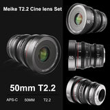 Meike 50mm T2.2 Manual Focus Prime Low Distortion Mini Cine Lens for Sony E Mount Cameras-Fast Delivery