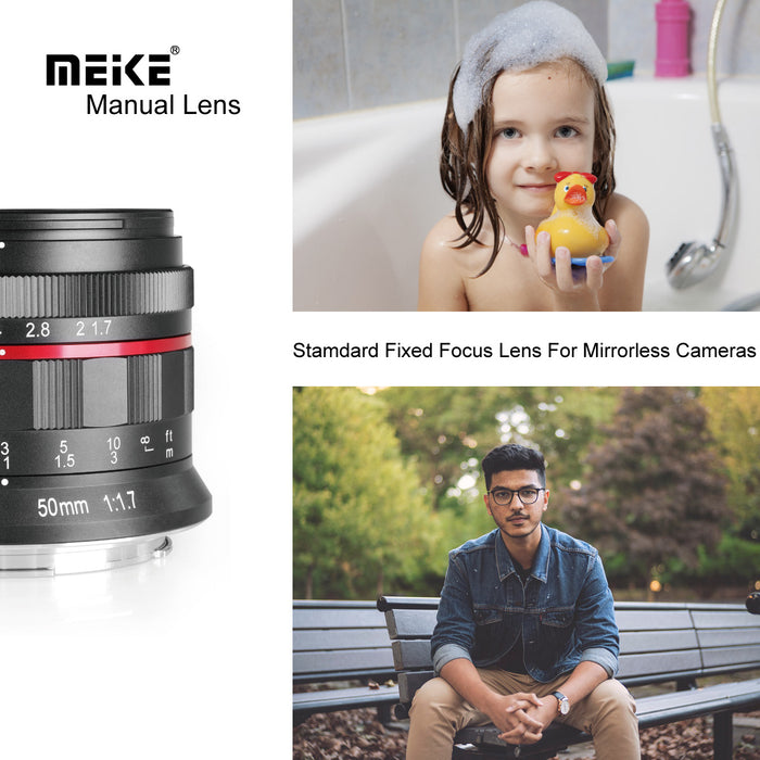 Meike MK-50mm F1.7 Full Frame Manual Focus Prime Lens for Canon RF Mount Cameras EOSR5 EOSR6 EOS-R EOS-RP-Fast Delivery