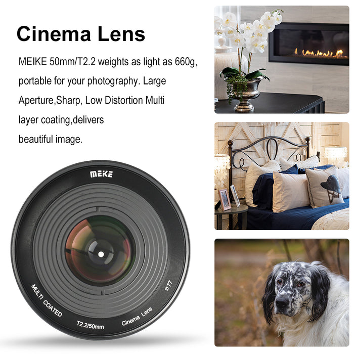 Meike  Cine Lens 50mm T2.2 for Sony E Mount-Fast Delivery