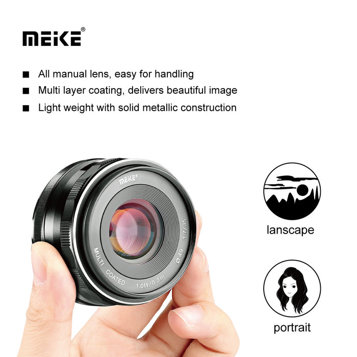 Meike Prime X mount lens MK-35mm F/1.7 for Fujifilm X Mount Mirrorless Cameras-Fast Delivery