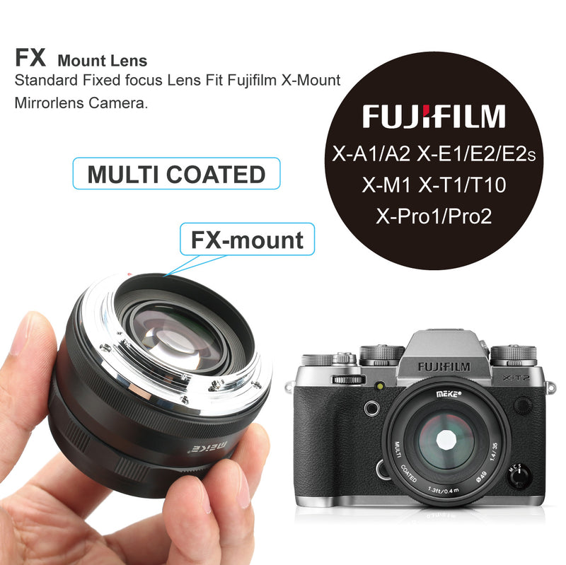 Meike MK-35mm F1.4 Large Aperture Wide Angle Lens Manual Focus Lens Works with Fuji X Mount Mirrorless Cameras X-T3 X-Pro2 X-E3 X-T1 X-T2 X-T10 X-T20 X-A2 X-E2 X-T100 X-E1 X30 X70 X-M1 X-A1,etc-Fast Delivery