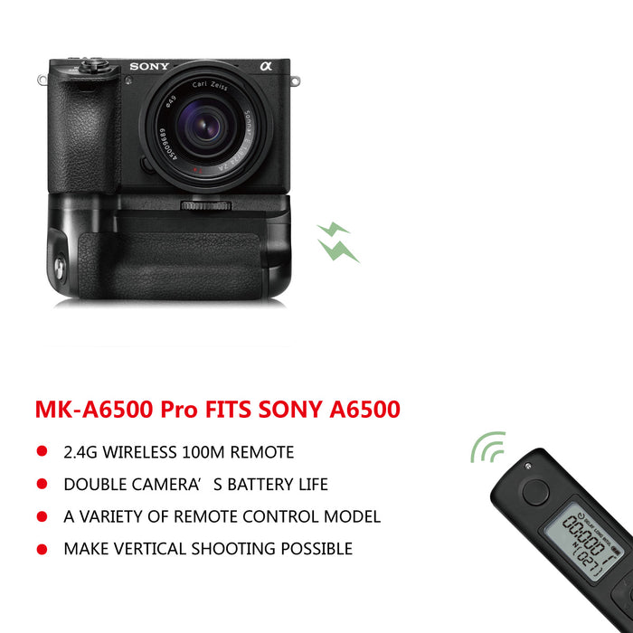 Meike MK-A6500 Pro Battery Grip Built-in 2.4GHZ Remote Controller Up to 100M to Control Shooting Vertical-Shooting Function for Sony A6500 Mirroless Camera with Wireless Remote Control