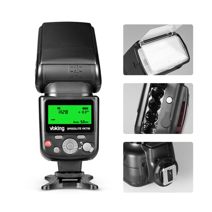 Voking VK750 Manual LCD Display Universal Flash Speedlite for Canon Nikon Pantax Panasonic Olympus Fujifilm DSLR Mirrorless Cameras