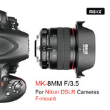 Meike MK-8mm F/3.5 APS-C  Nikon F Mount Lens , Ultra Wide Angle Manual Focus