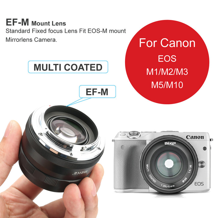 Meike 35mm F1.4 Large Aperture APS-C Prime Manual Focus Lens for Canon EF-M EOS-M Mount Mirrorless Cameras-Fast Delivery
