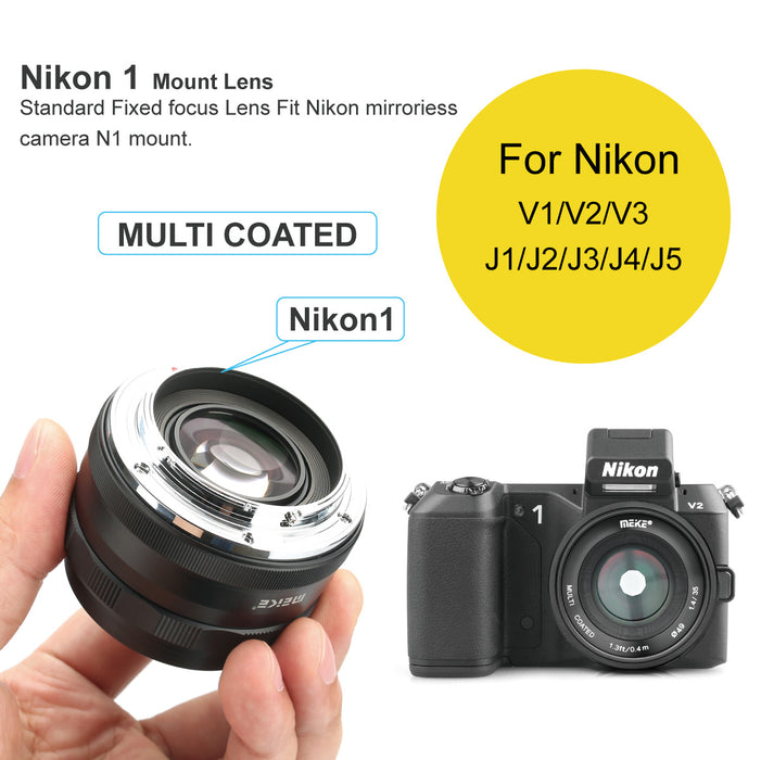 Meike 35mm F/1.4 APS-C Nikon N1-Mount Lens , Large Aperture Manual Focus-Fast Delivery