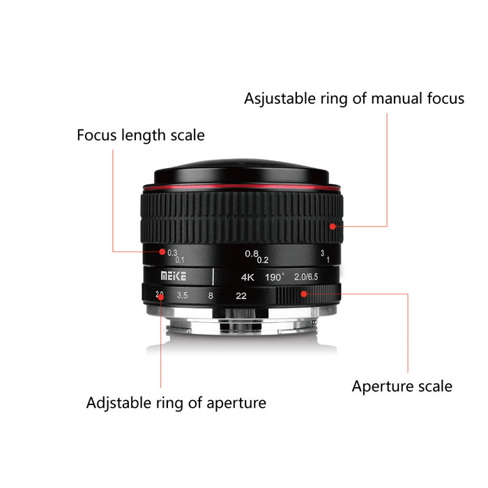 Meike 6.5mm f/2.0 Ultra Wide Manual Focus Circular Fisheye Lens for Z Mount-Fast Delivery