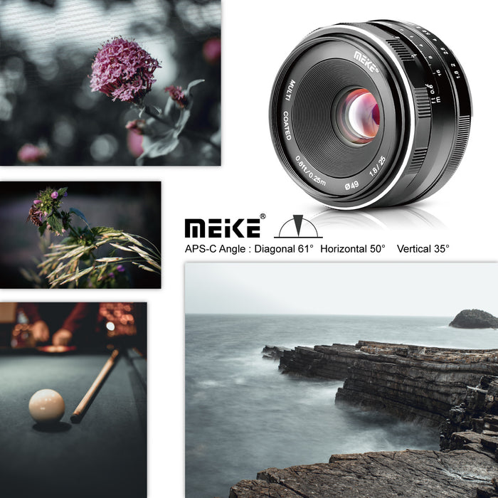 Presell:Meike 25mm F1.8 Wide Angle Lens Manual Focus Lens for Canon EOS-M Mount-Fast delivery