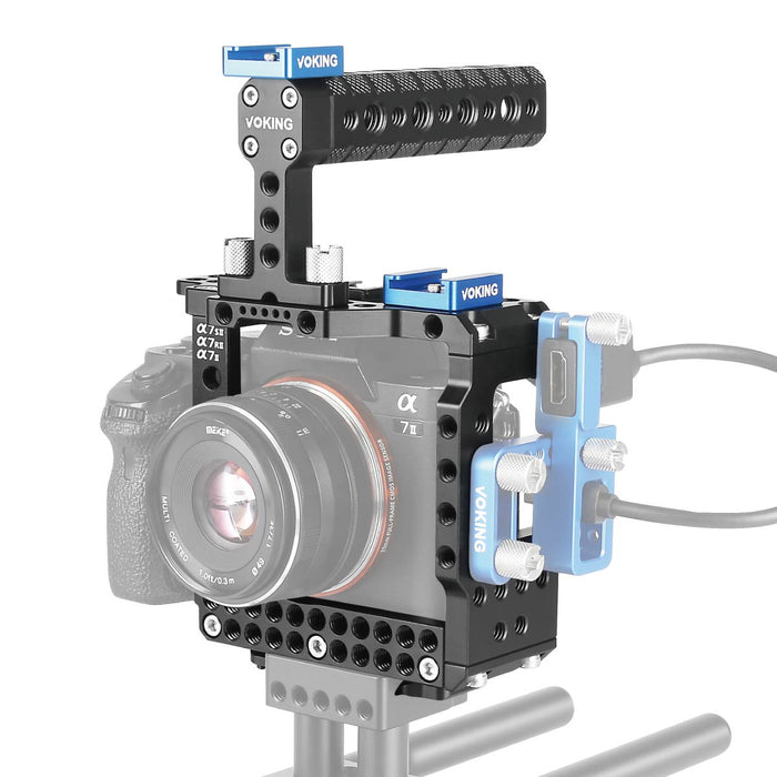 Voking Aluminum Alloy VK-A7IIK Camera Video Cage & Top Handle with Detachable and Top Handle Quick Release Plate for Sony Alpha A7SII A7RII A7II