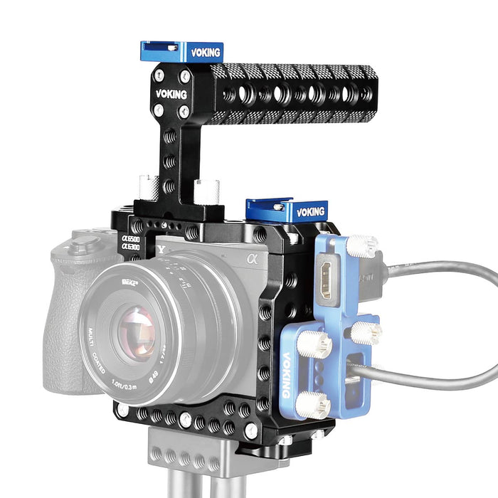 VOKING Aluminum Alloy VK-A6500K Camera Video Cage Film Movie Making Kit Include DSLR Cage & Detachable Top Handle with Quick Release Plate for Sony A6500 A6300 A6000