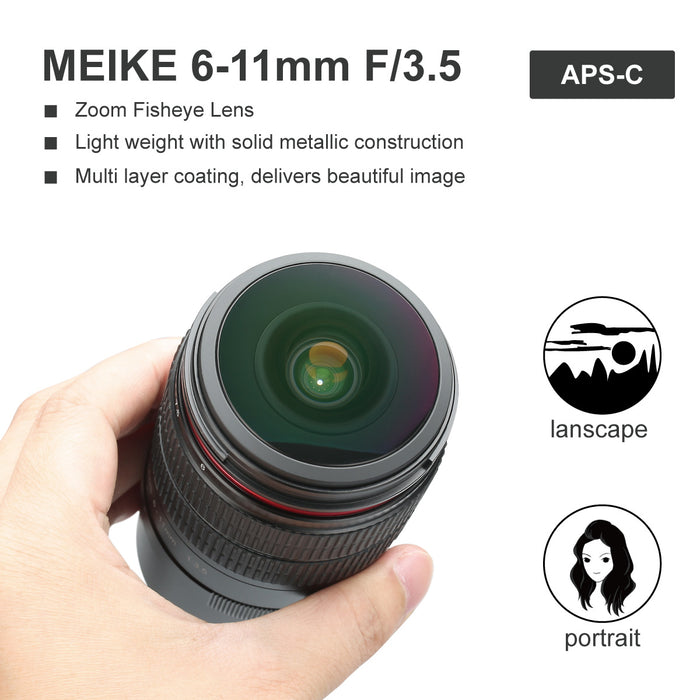 Meike 6-11mm F3.5 Zoom Manual Focus Wide Angle Lens for Sony E-Mount Mirrorless Camera A7III A9 NEX 3 3N 5 NEX 5T NEX 5R NEX 6 7 A6400 A5000 A5100 A6000 A6100 A6300 A6500-Fast Delivery
