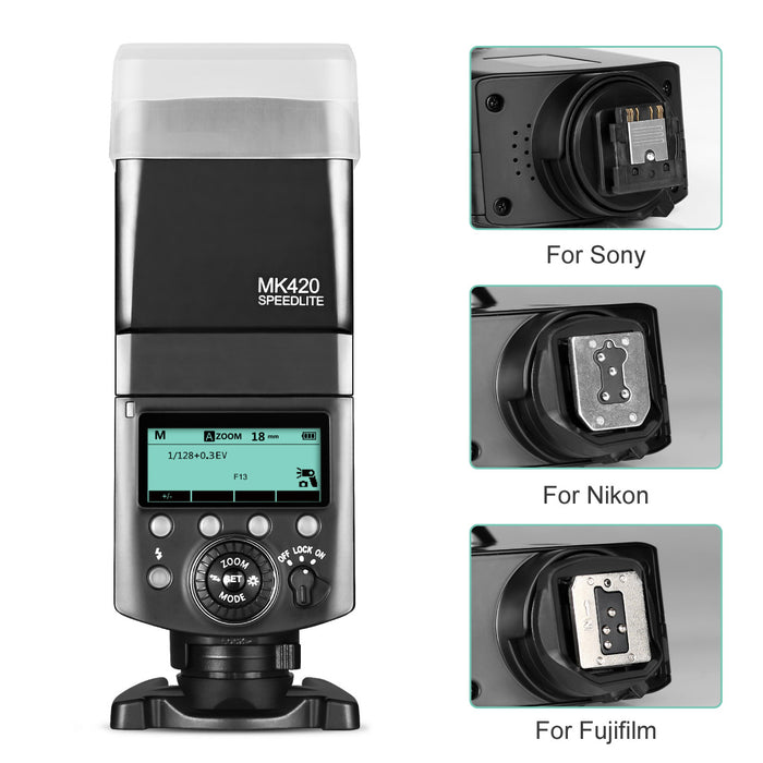 Meike MK420S Professional TTL Li-ion Battery Flash Speedlite with LCD Display for Sony Mi Hot Shoe Mount Camera