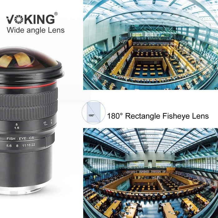 Voking 8mm f/3.5 Ultra Wide Angle Manual Focus Rectangle Fisheye Lens for Micro 4/3 MFT M4/3