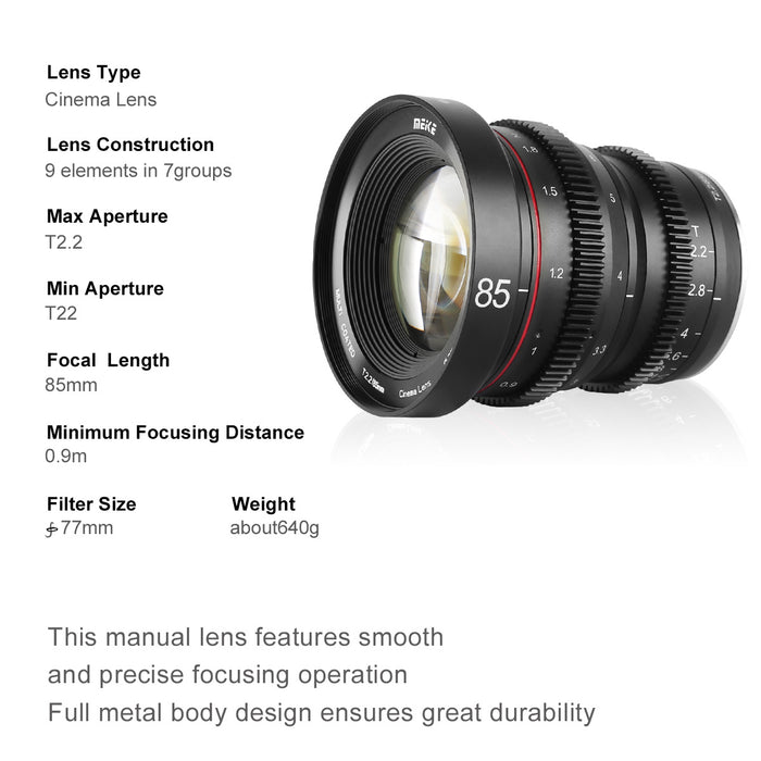 Meike MFT Cine Lens 85mm T2.2 for M4/3  Olympus Panasonic Lumix Cameras and BMPCC 4K-Fast Delivery