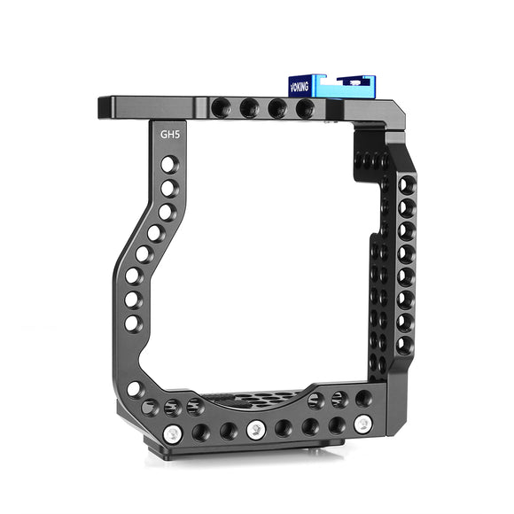Voking Aluminum Alloy VK-GH5C Camera Video Cage with Detachable Quick Release Plate for Lumix GH5