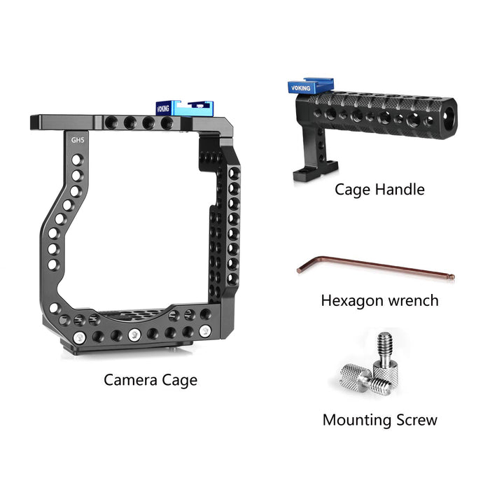 Voking Aluminum Alloy VK-GH5K Camera Video Cage & Top Handle with Detachable and Top Handle Quick Release Plate for Lumix GH5