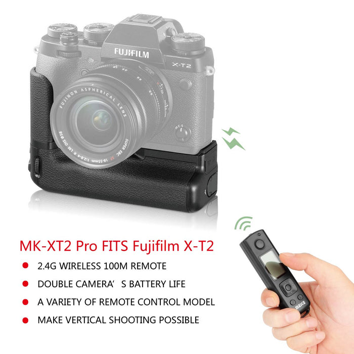 Meike MK-XT2 Pro Professional Vertical Battery Grip VPB-XT2 Replacement for Fujifilm X-T2 Built-in 2.4GHz Remote Controller up to 100M Control Shooting Vertical-Shooting Function+ Gift with TTL Cord