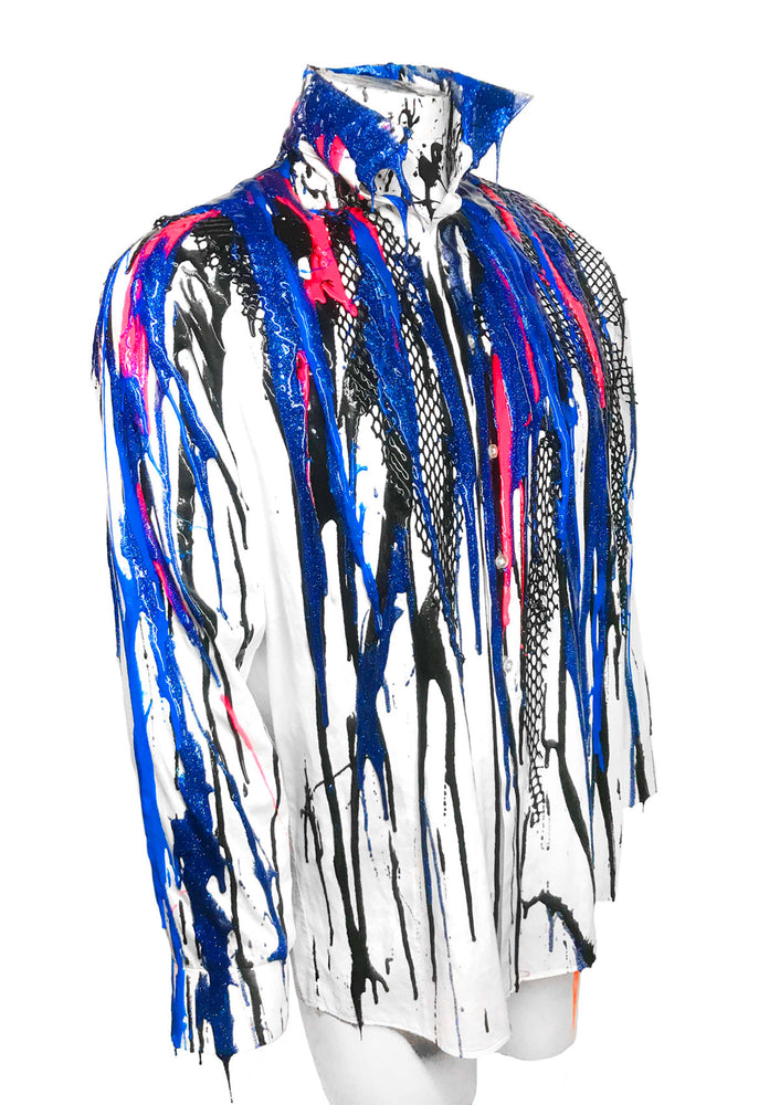 Multi Color Drip Button Down Shirt