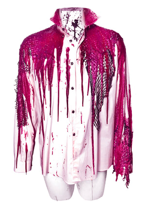 Pink Glitter Drip Button Down Shirt
