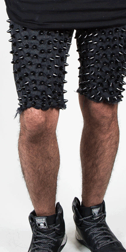 Spiked Denim Shorts