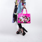 Painted Flower Leather Handbag