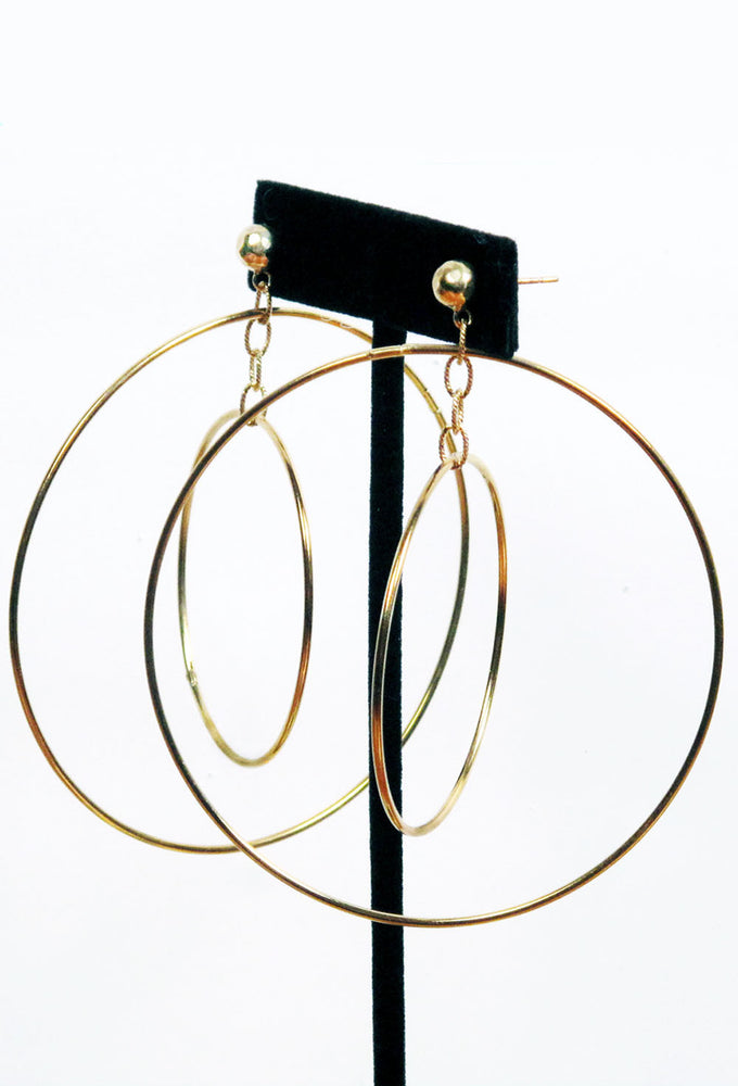 Gold Plated Big Hoop in a Hoop Earrings
