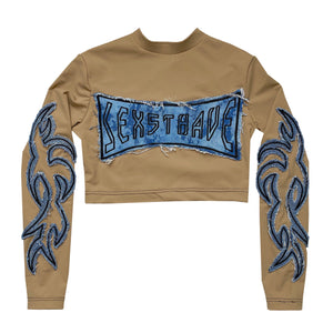 Frayed Bleached Denim Appliqué Camel Top
