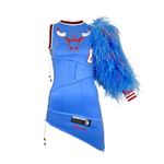 Blue Feather One-Sleeve Jersey Dress