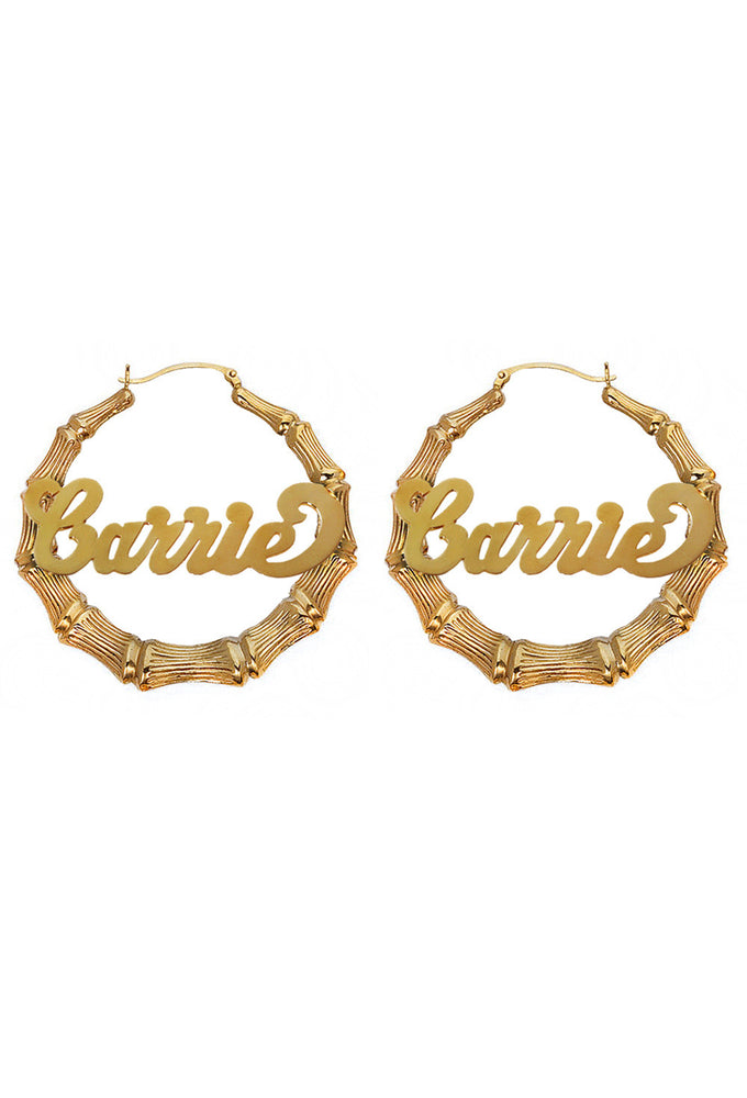 Custom Nameplate Bamboo Hoop Earrings 14K Gold