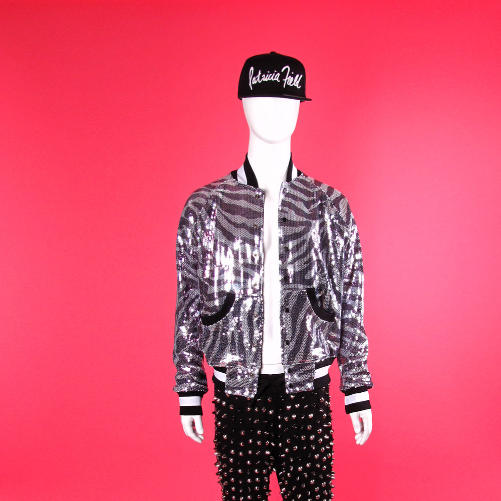House of Field Sequin Baseball Jacket