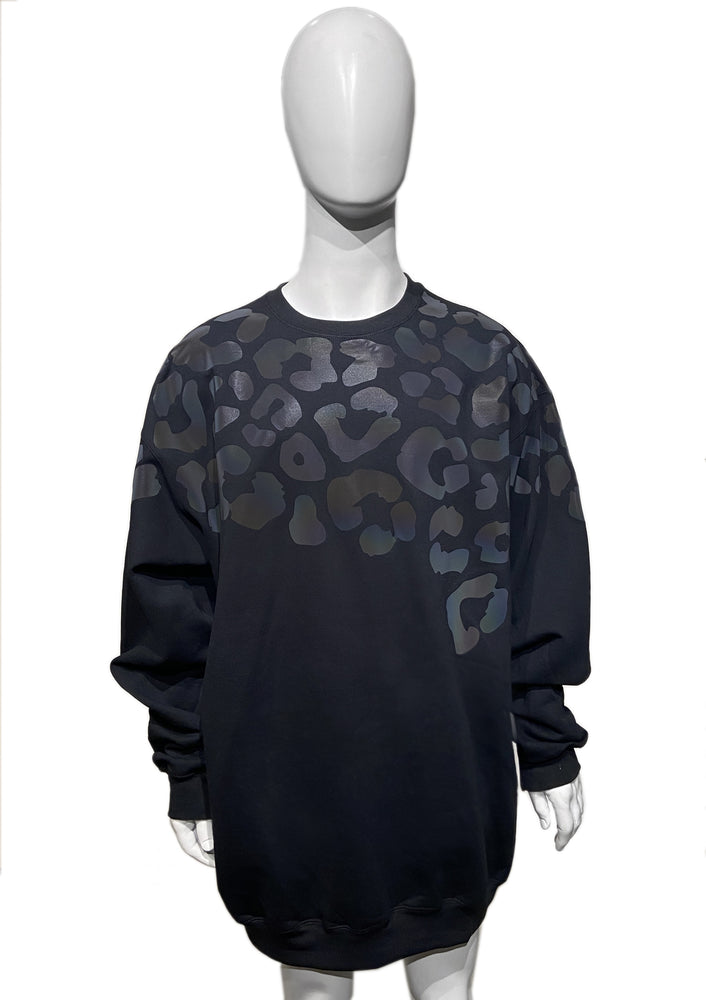 Leopard Reflective Oversized Sweater - Black