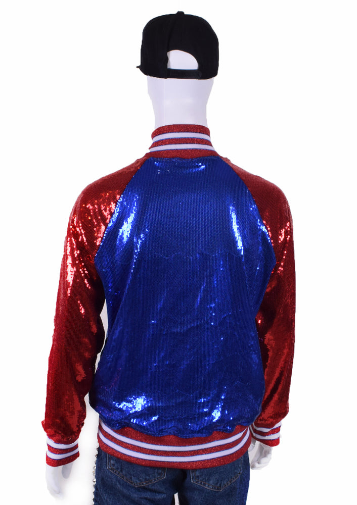 Color Block Sequin Baseball Jacket