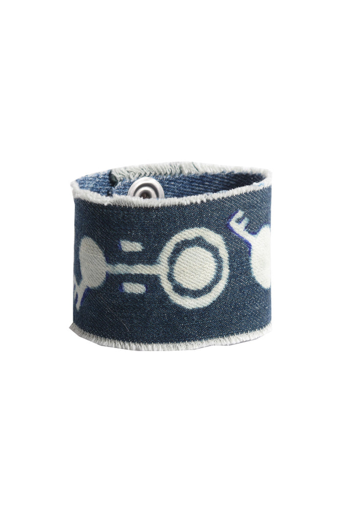 CIRCLE KEY DENIM CUFF- AVAILABLE FOR IMMEDIATE DELIVERY