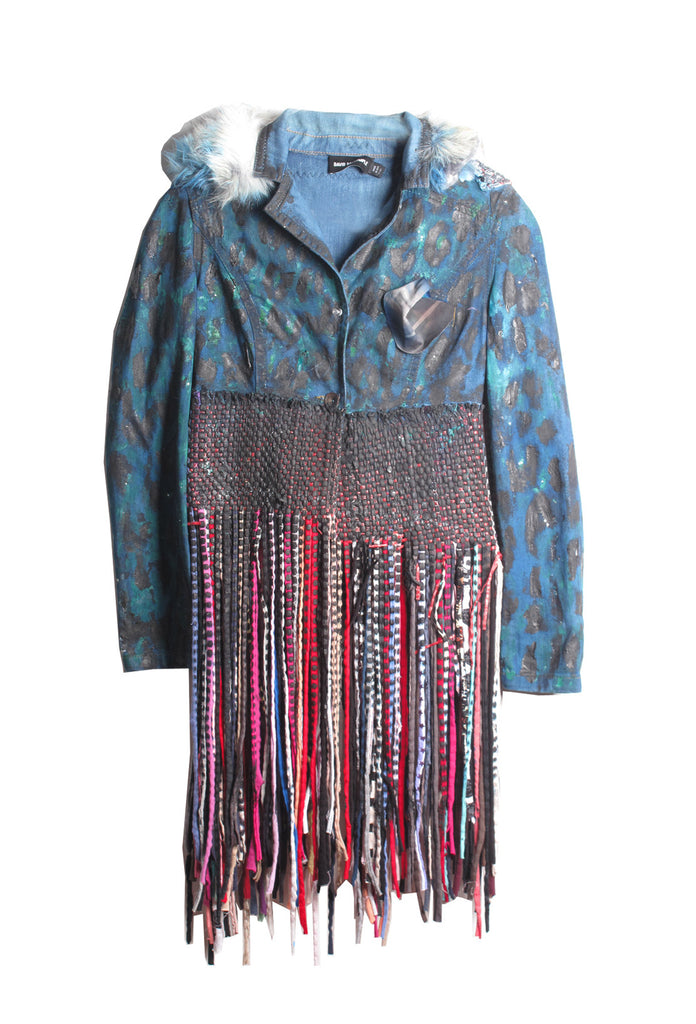 ONE OF A KIND Hand Painted Denim Jacket with Fringe - IMMEDIATE DELIVERY SIZE M