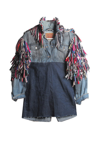 ONE OF A KIND Hand Painted Denim Jacket with Rag Rug Trim - IMMEDIATE DELIVERY SIZE S