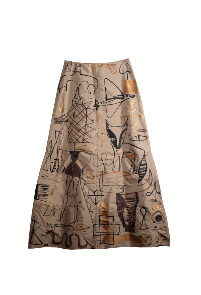 Jody MORLOCK Hand Painted 'Diana' Long Maxi Skirt - IMMEDIATE DELIVERY SIZE S