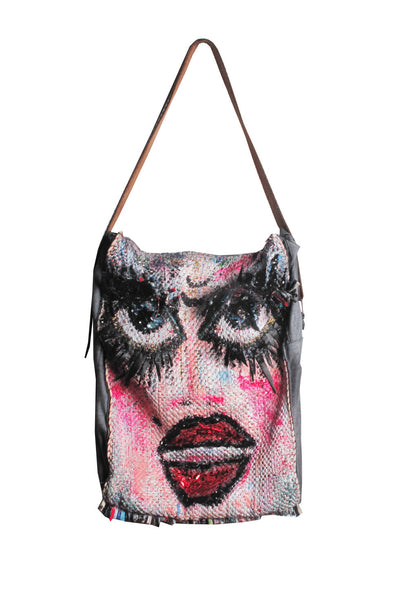 ONE OF A KIND Hand Painted Drag Bag Messenger - AVAILABLE FOR IMMEDIATE DELIVERY