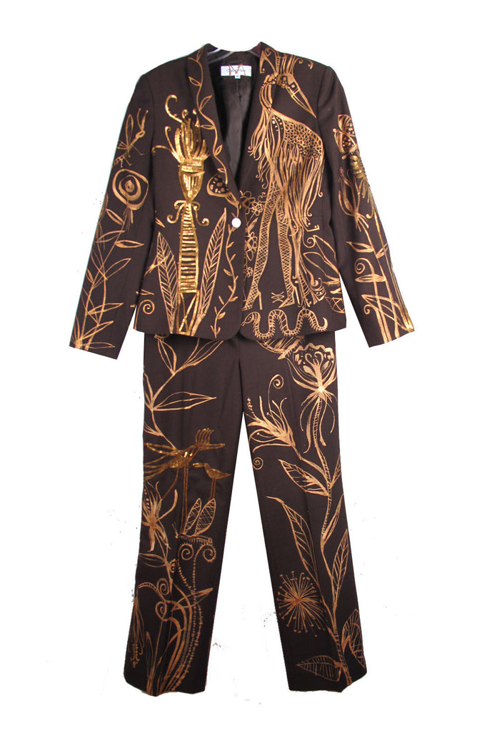 "'Jody MORLOCK' Hand Painted ""SEQUINED EDEN"" Suit- AVAILABLE FOR  IMMEDIATE DELIVERY SIZE S"