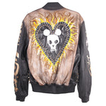 JODY MORLOCK X STUDMUFFIN 'FLAMING MICKEY HEART' Leather Bomber Jacket