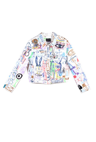 "'Jody MORLOCK' Hand Painted ""SEQUINED GRAFFITI DENIM JACKET' Shirt - AVAILABLE FOR  IMMEDIATE DELIVERY SIZE L"