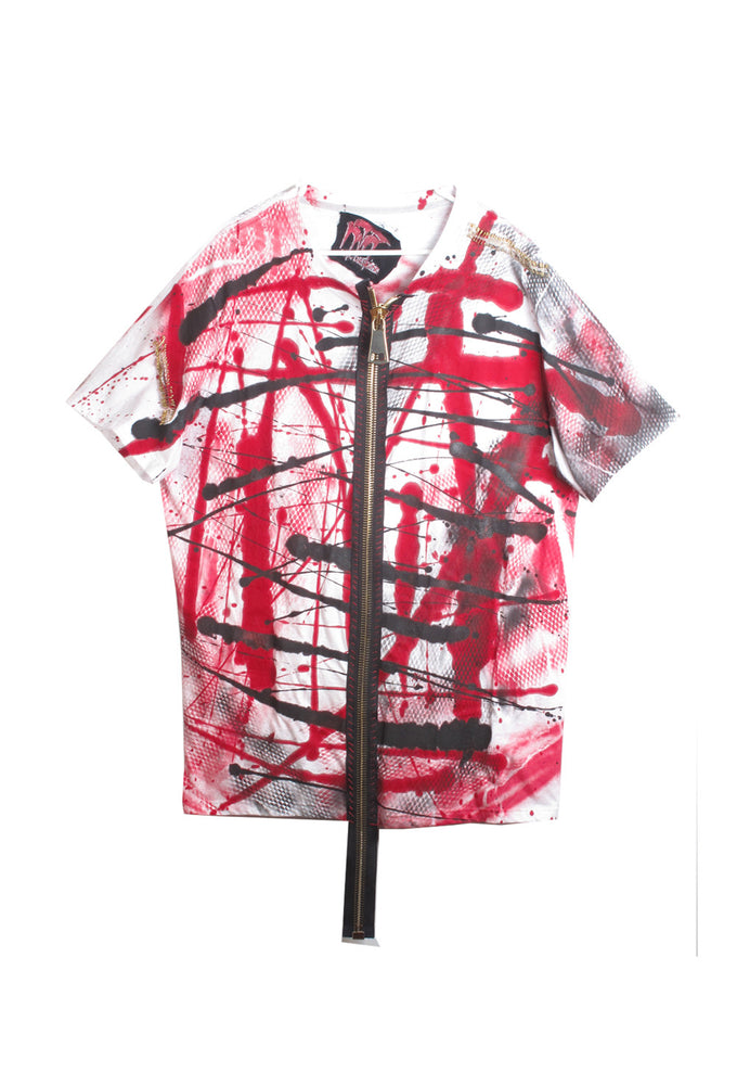 Graffiti Zip Front Tee Shirt