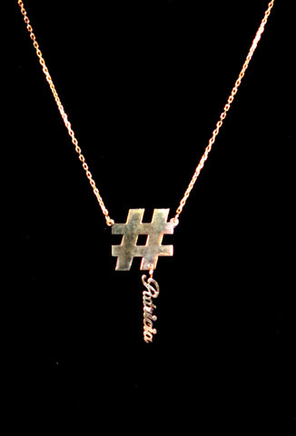 Patricia Field Signature Collection 14K Gold Custom Hashtag Nameplate Charm Necklace