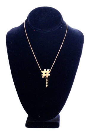 14K Gold Custom Hashtag Nameplate Charm Necklace