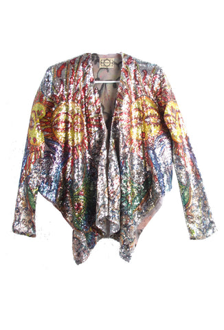 'HUSHI Mortezaie' Hand Painted 'HERE COMES THE SUN' Jacket - AVAILABLE FOR  IMMEDIATE DELIVERY SIZE M