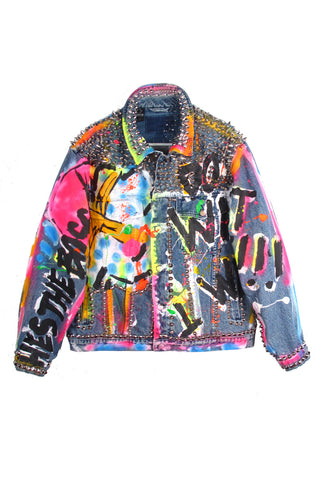 THESEPINKLIPS X STUDMUFFIN 'HE'S THE BOSS' Denim Jacket- AVAILABLE FOR IMMEDIATE DELIVERY SIZE MENS L
